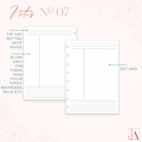 Cornell style notes planner inserts by Jane's Agenda