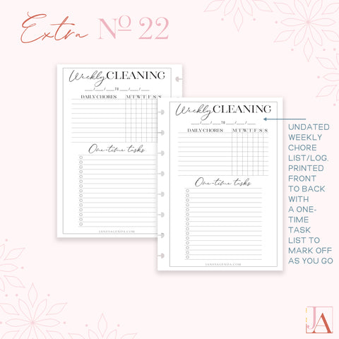 Cleaning List Planner Inserts by Jane's Agenda