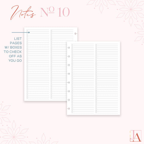 Notes Planner Inserts No. 10   Lists by Jane's Agenda