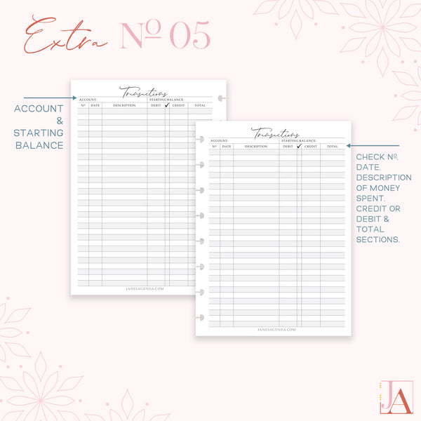 Check Book Register Planner Inserts by Jane's Agenda