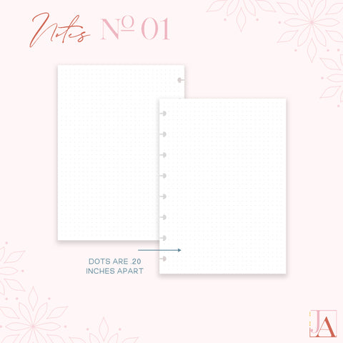Notes Planner Inserts No. 01 Dot Grid by Jane's Agenda