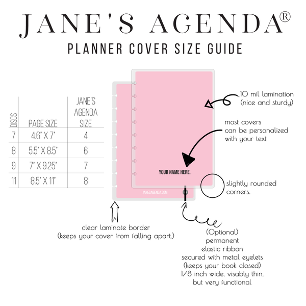 Jane's Agenda Planner Cover Size Guide