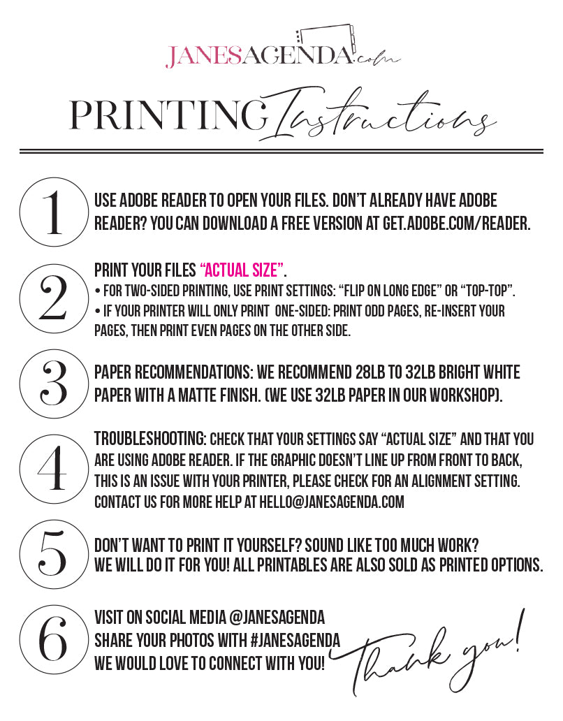 Printing Instructions for Jane's Agenda Printables