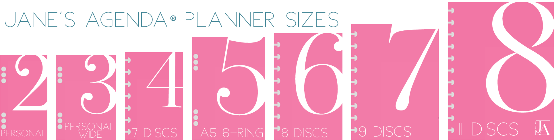 Planner insert size guide for Jane's Agenda discbound and six ring planner products.