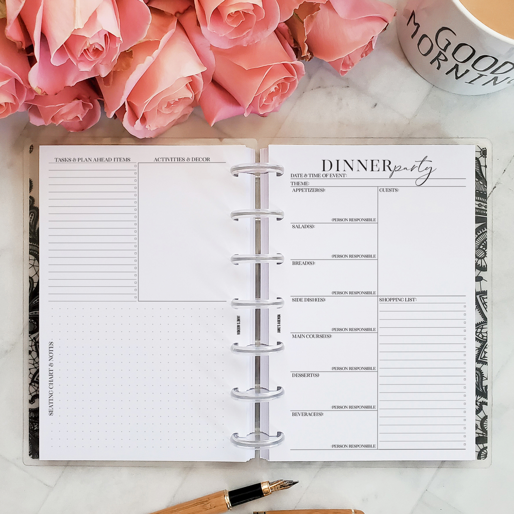 Dinner Party Planner Inserts by Jane's Agenda for six ring or discbound planner systems.