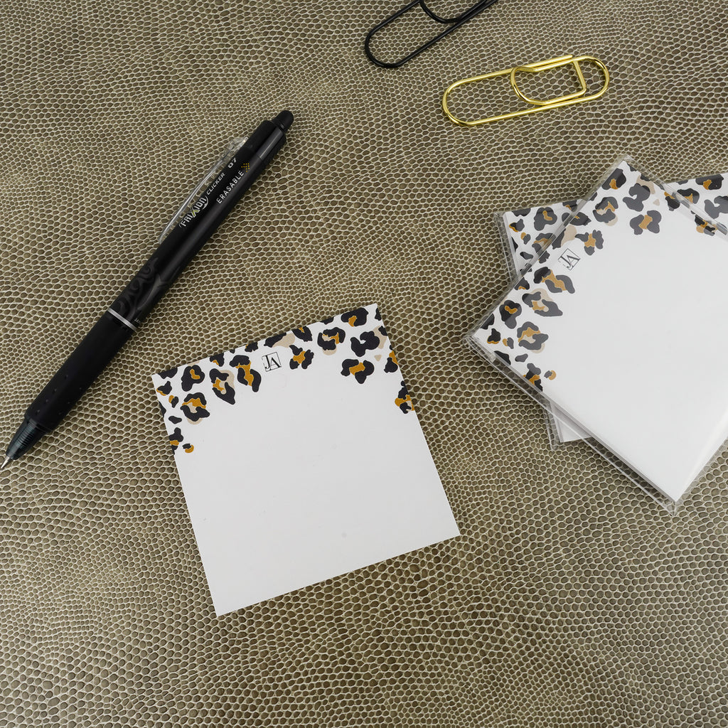 BIC Sticky Notes in Leopard Animal Print for Jane's Agenda® with Pilot FriXion Erasable Clicker Pen and black and gold pen clips.