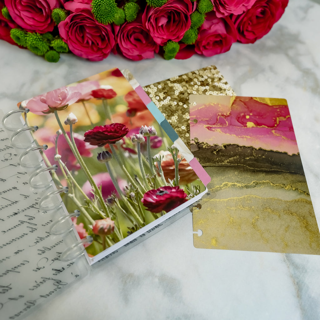 Glam floral card stock planner dashboards by Jane's Agenda