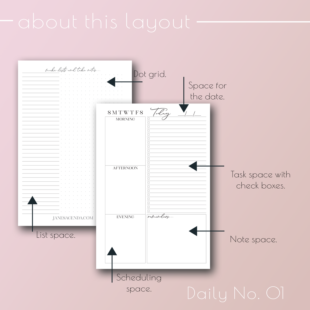 Daily Planner Inserts No. 01 by Jane's Agenda® for planner covers and planner systems.