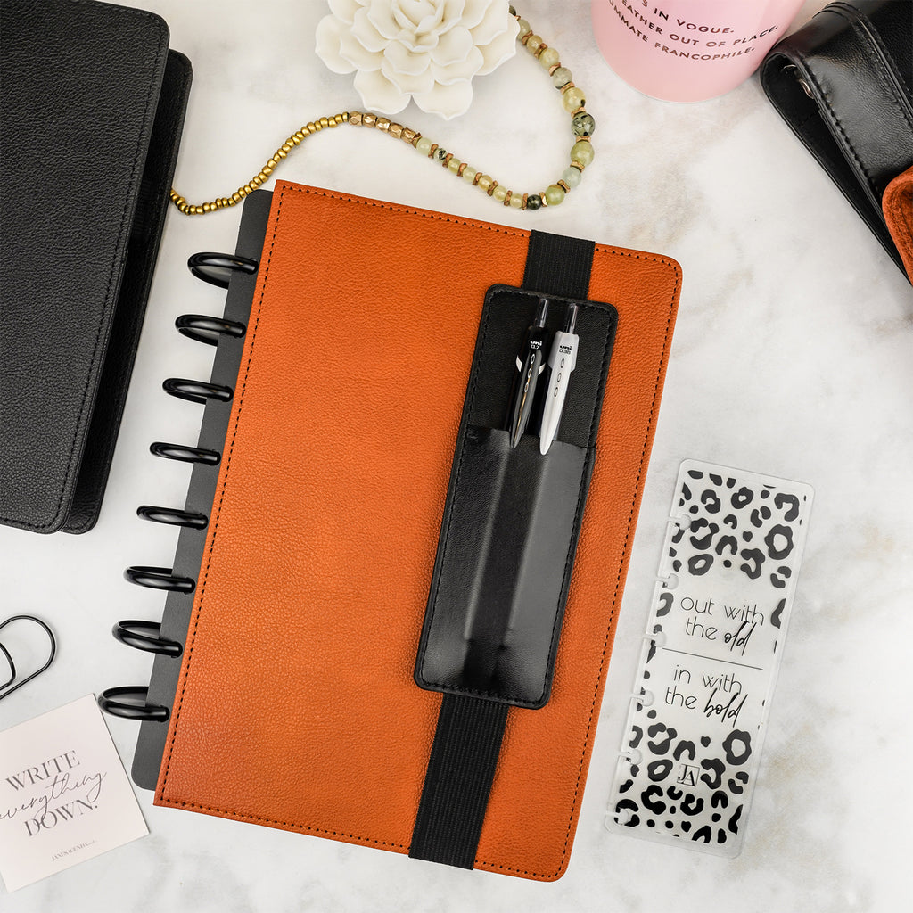 Black vegan leather  pen holder with elastic band, for discbound planners by Jane's Agenda®.