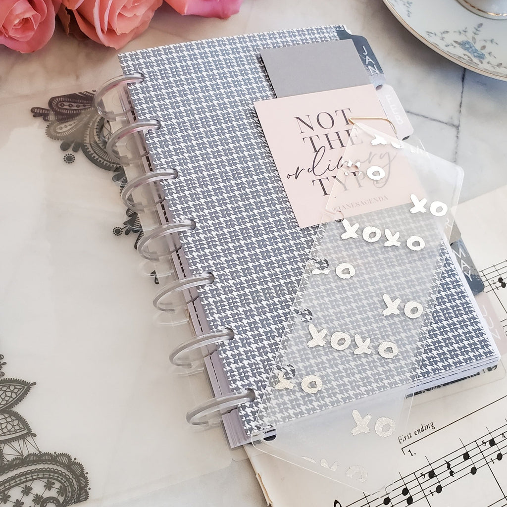 XOXO Silver Foiled Discbound Planner Page Finder Bookmark by Jane's Agenda