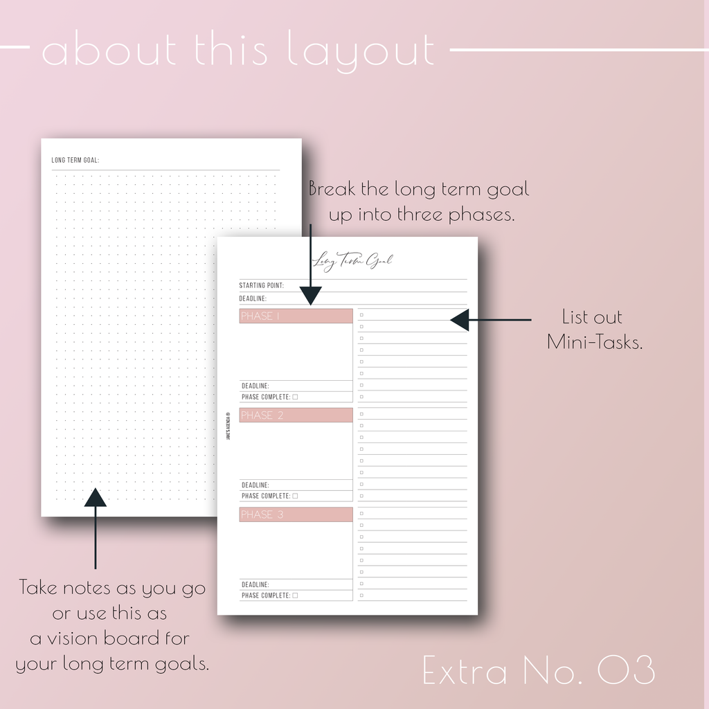 Planner Inserts Extra No. 03 Goals Spread by Jane's Agenda®.