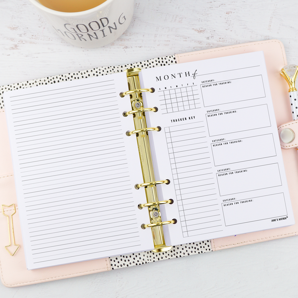 Monthly habit trqcker for six ring and discbound planners by Jane's Agenda.