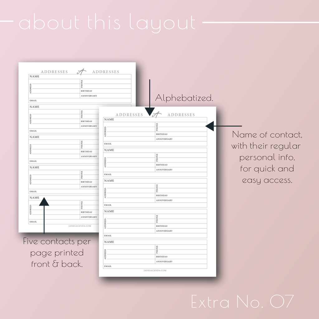 Planner Insert Extra No 07 Addresses and Contacts, Alphabetized. By Jane's Agenda®