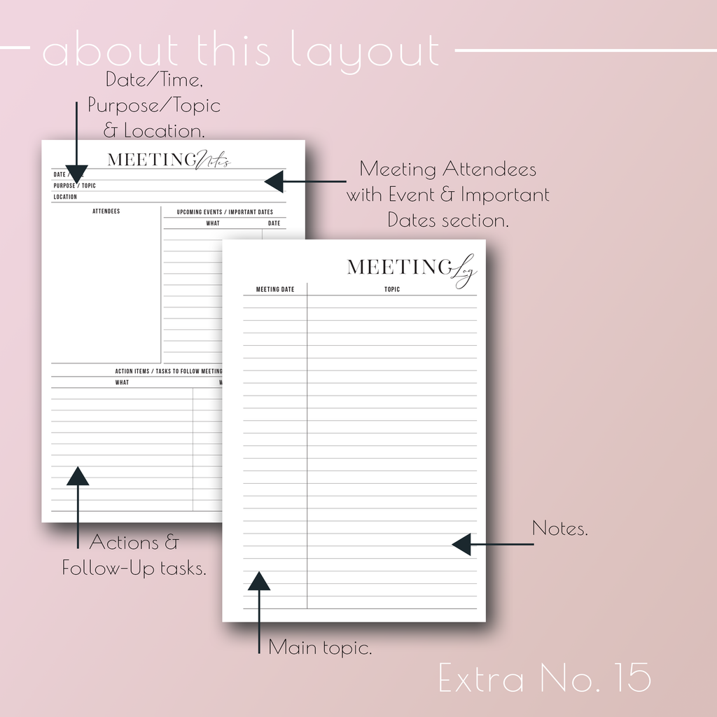 Planner Inserts Extra No. 15, Meeting Notes Two Pages planner refills, by Jane's Agenda®