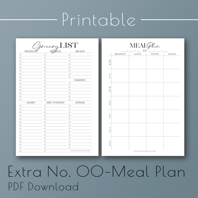 Printable PDF version of the Planner Insert Extra No 00 Meal Planning, planner refills by Jane's Agenda®