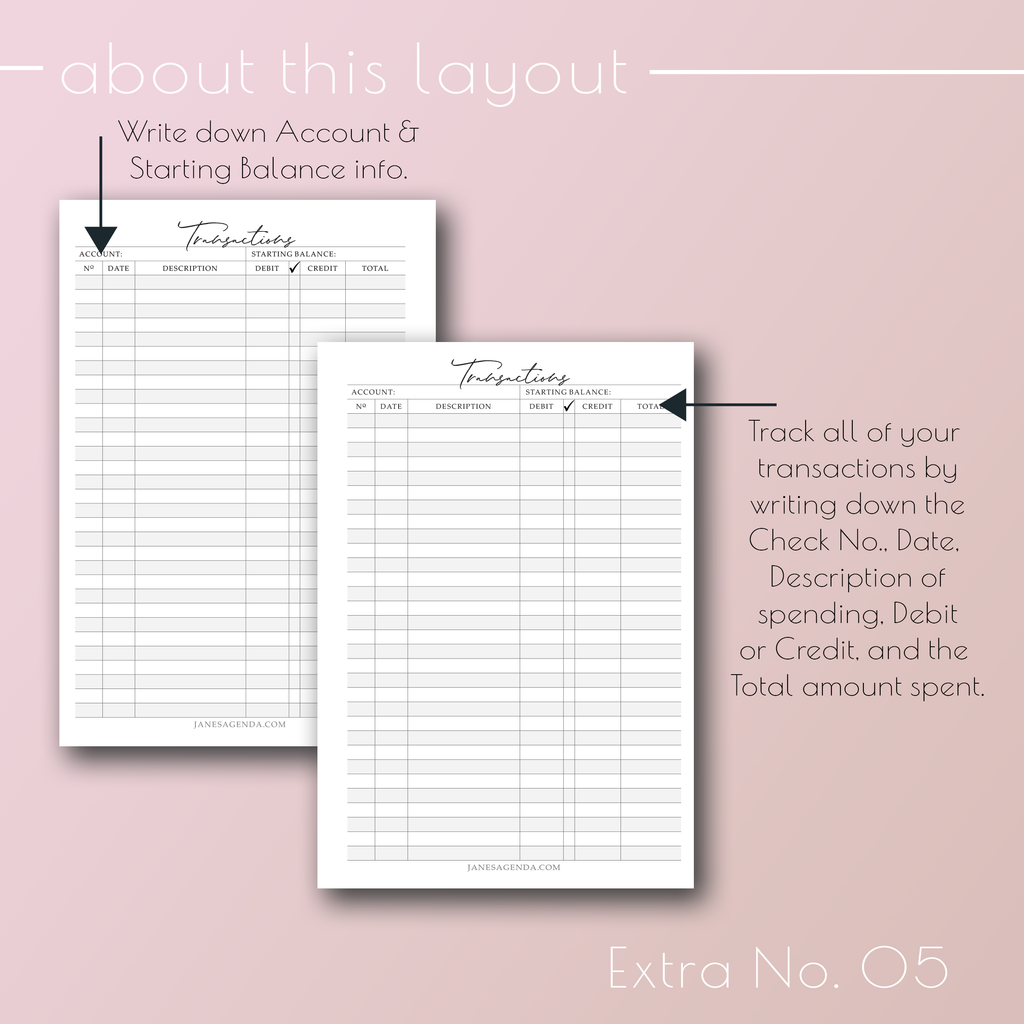 Planner Insert Extra No. 05, Checkboon Register planner refill pages, by Jane's Agenda®.