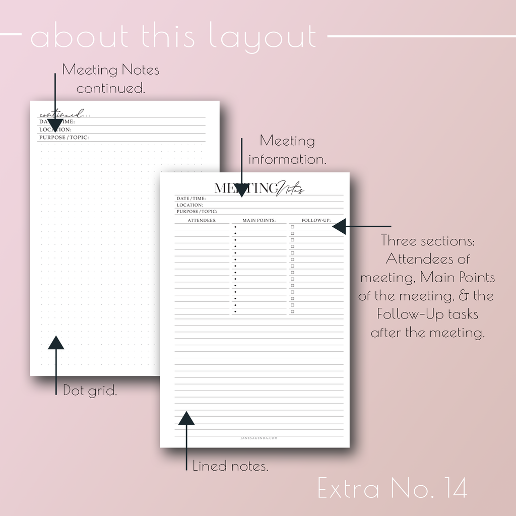 Planner Inserts Extra No. 14, Meeting Notes planner refills, by Jane's Agenda®.