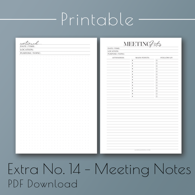 Printable PDF version of Extra Planner Insert 14 Notes, planner refill pages, by Jane's Agenda®.