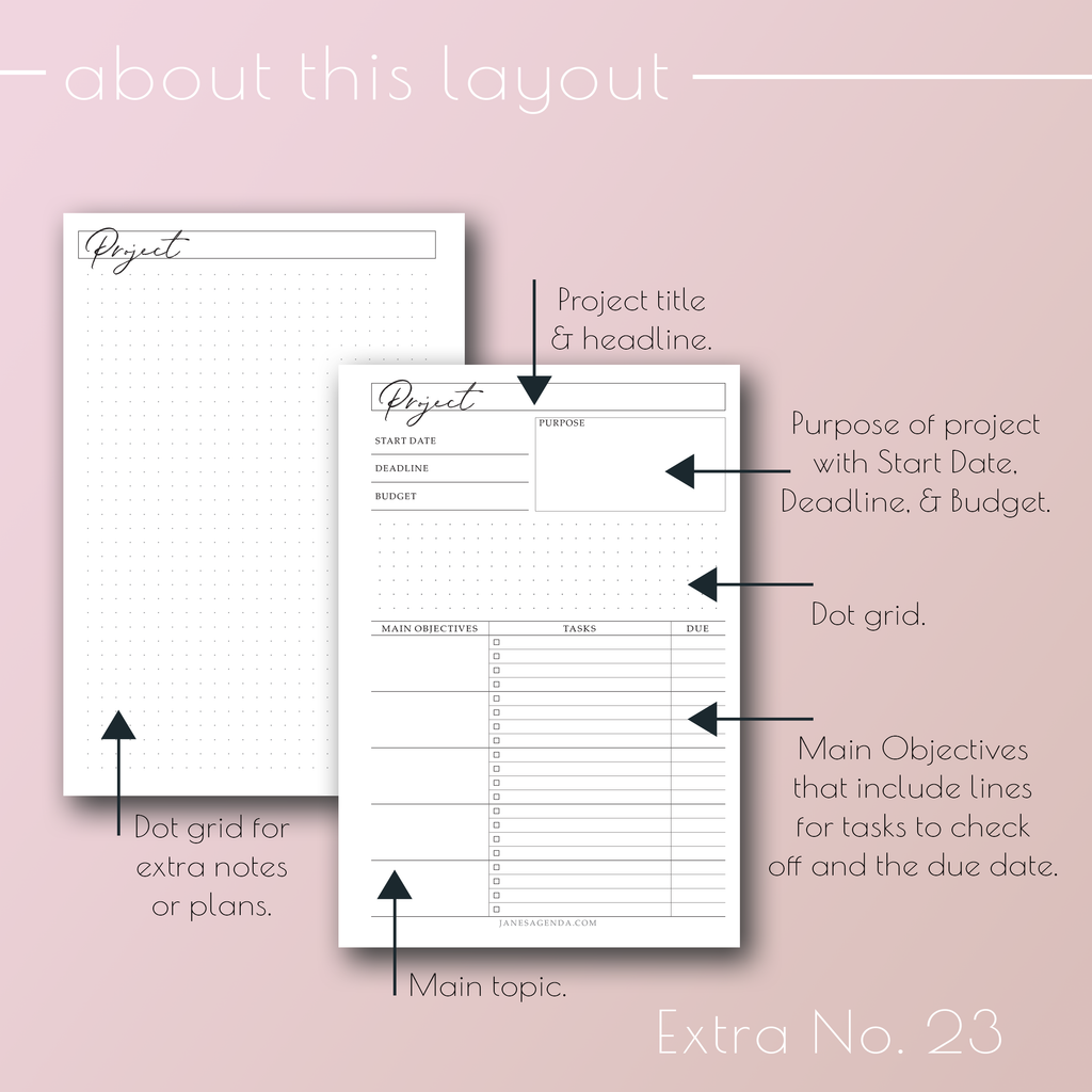 Planner Inserts Extra No. 23, Project planner refill pages, by Jane's Agenda®.