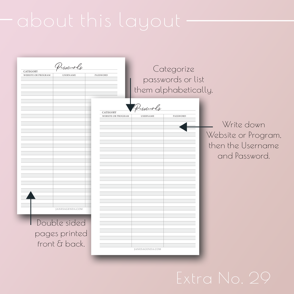 Planner insert Extra No. 29, Passwords by category planner refill pages, by Jane's Agenda®.