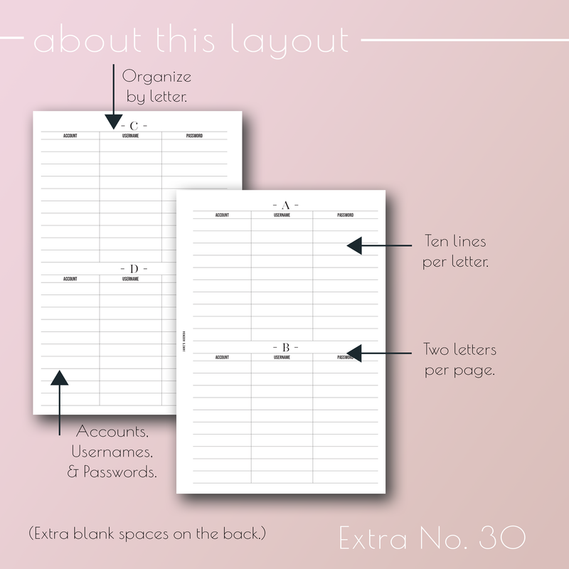 Printable PDF version of Planner Insert Extra No. 30, Passwords by Letter planner pages refills, by Jane&