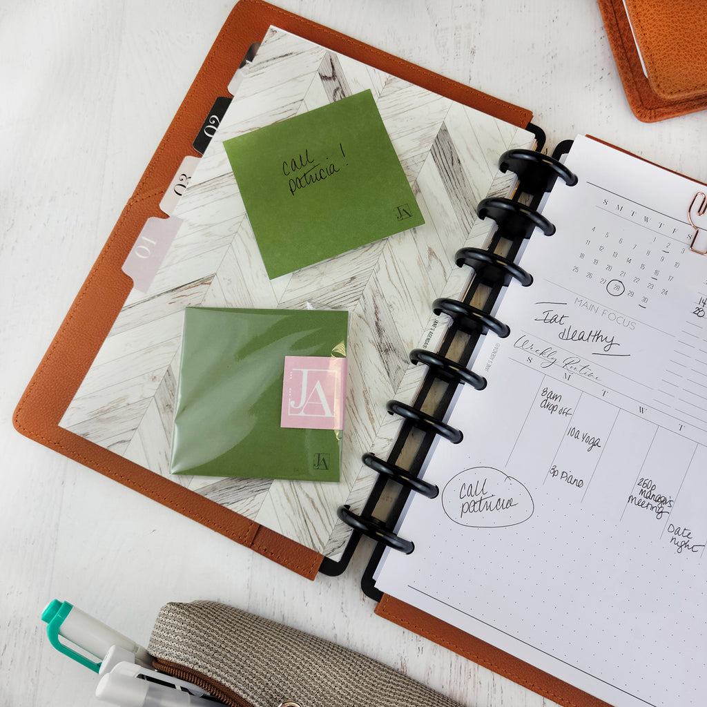 Olive green sticky notes for use with six ring and discbound planner by Jane's Agenda®️.