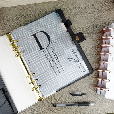Inbox laminated vellum dashboard by Jane's Agenda® over the Neutral Tabbed Dividers in a six ring planner book.