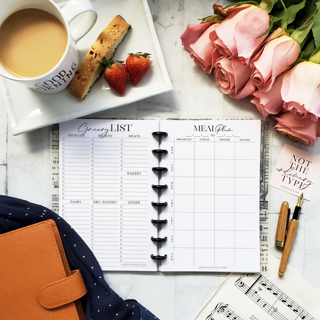 Meal planning with grocery lists planner inserts for six ring and discbound planner systems by Jane's Agenda