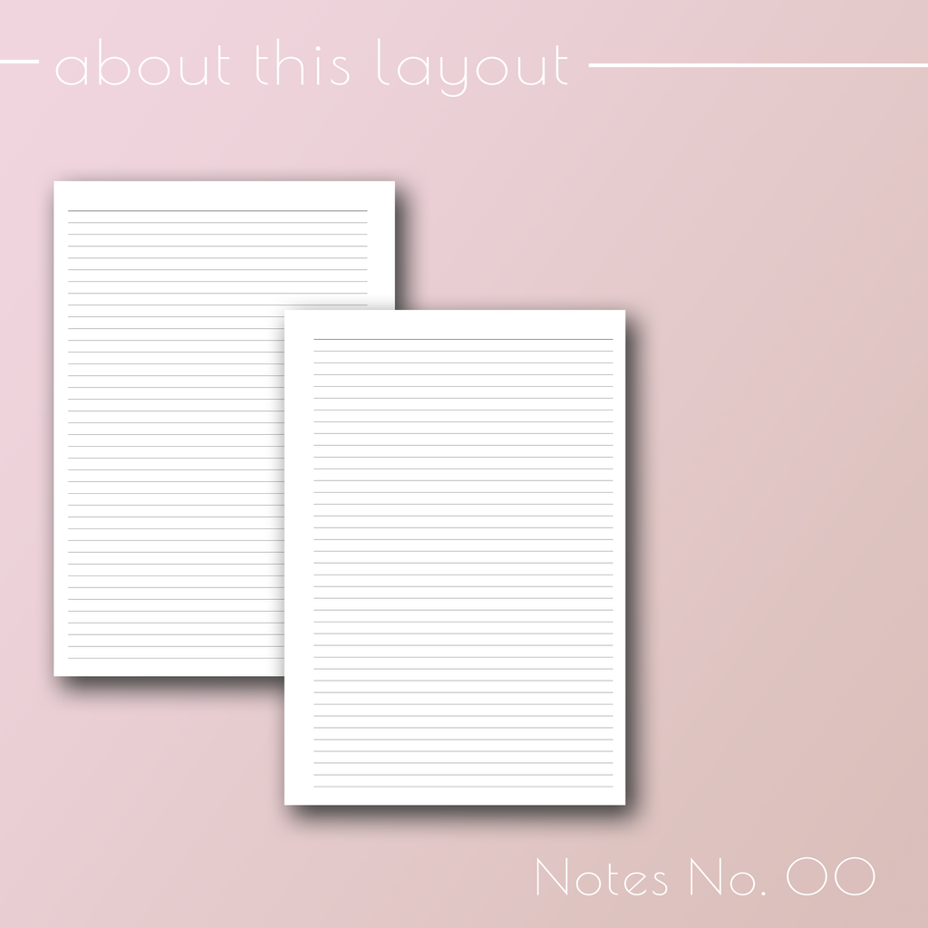 Planner Inserts Notes 00, Lined planner refill pages, by Jane's Agenda®.