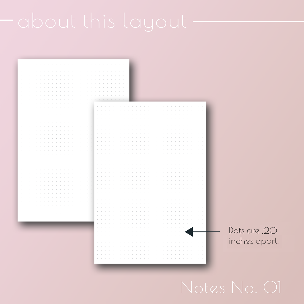 Planner Inserts Notes 01, Dot Grid planner refill pages, by Jane's Agenda®.