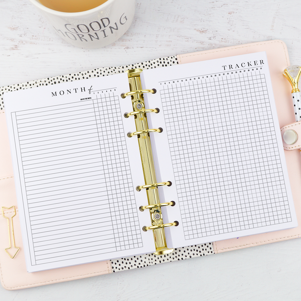 Monthly habits tracker for discbound and six ring planners by Jane's Agenda.