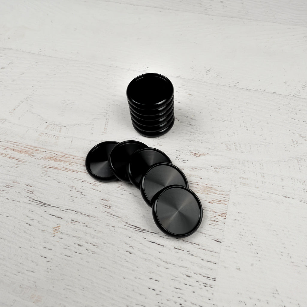 Black 1.25 inch aluminum binding expansion discs from Jane's Agenda®.