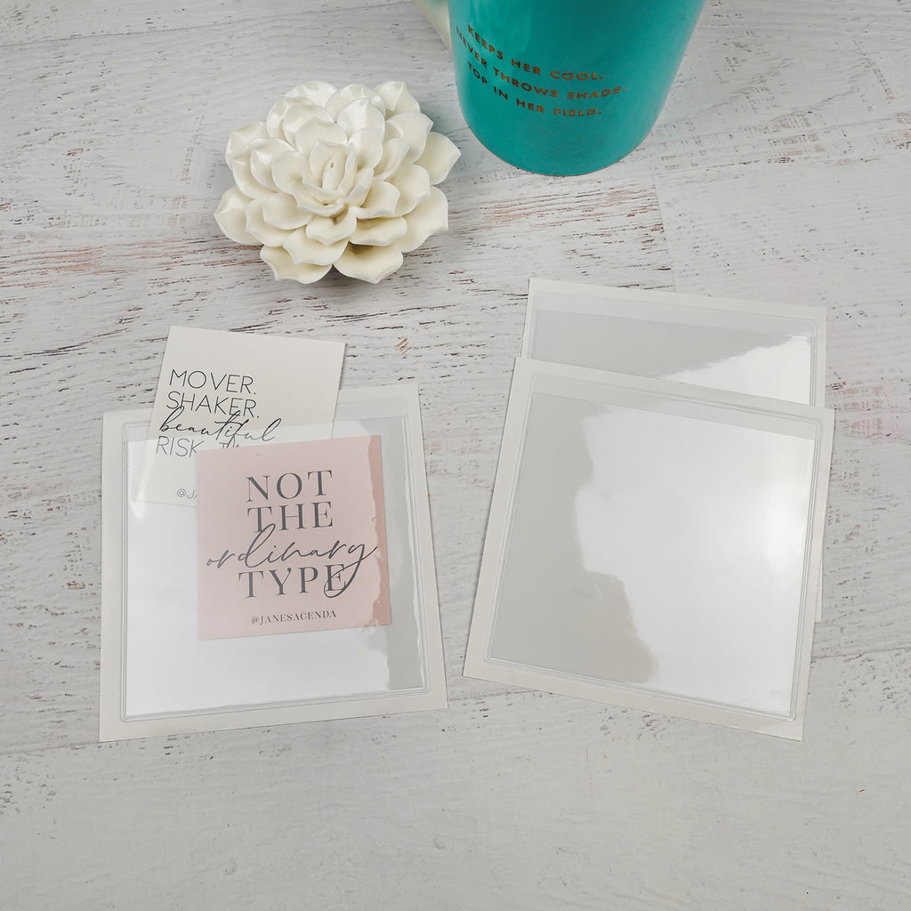 4x4 Clear Square Adhesive planner pockets from Jane's Agenda®.