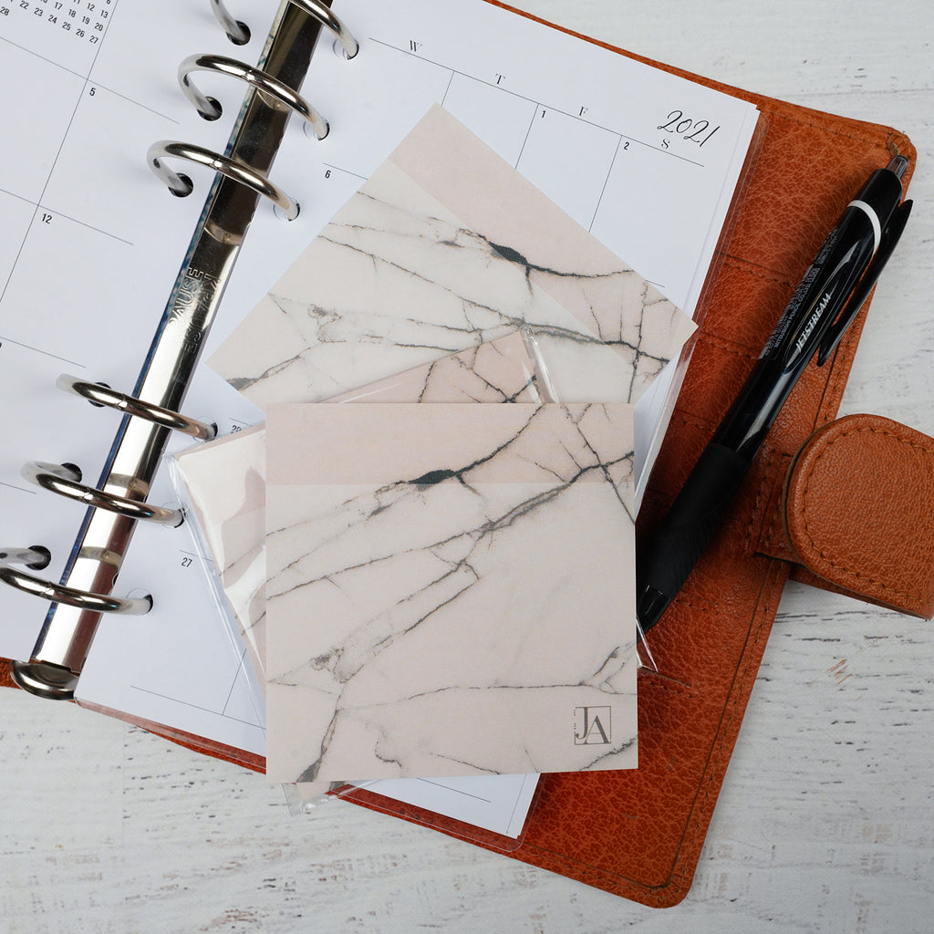 Jane's Agenda®️ Soft Blush Marble strickynote by BIC®️ brand.