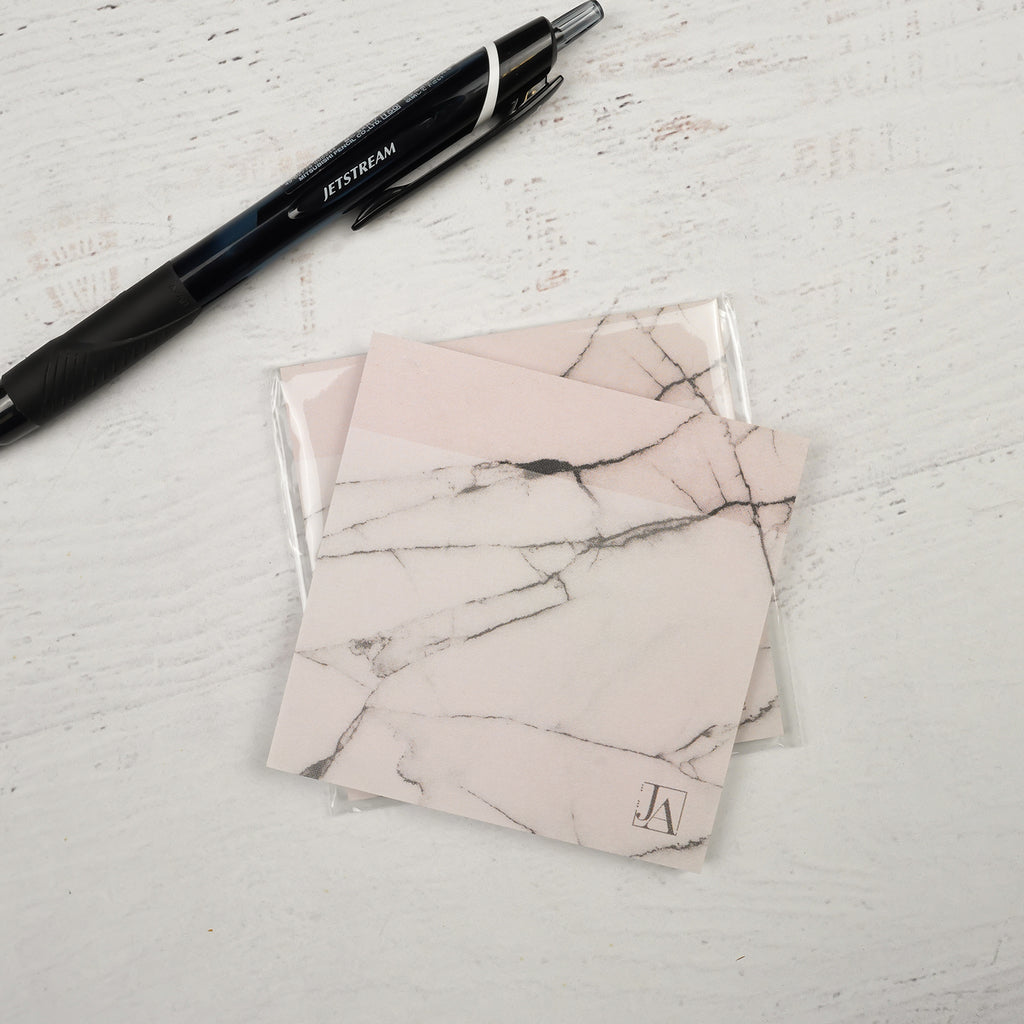 Soft Blush Marble Stickynotes for Jane's Agenda® by BIC®️ paired with the Uni Jetstream Ballpoint Pen.