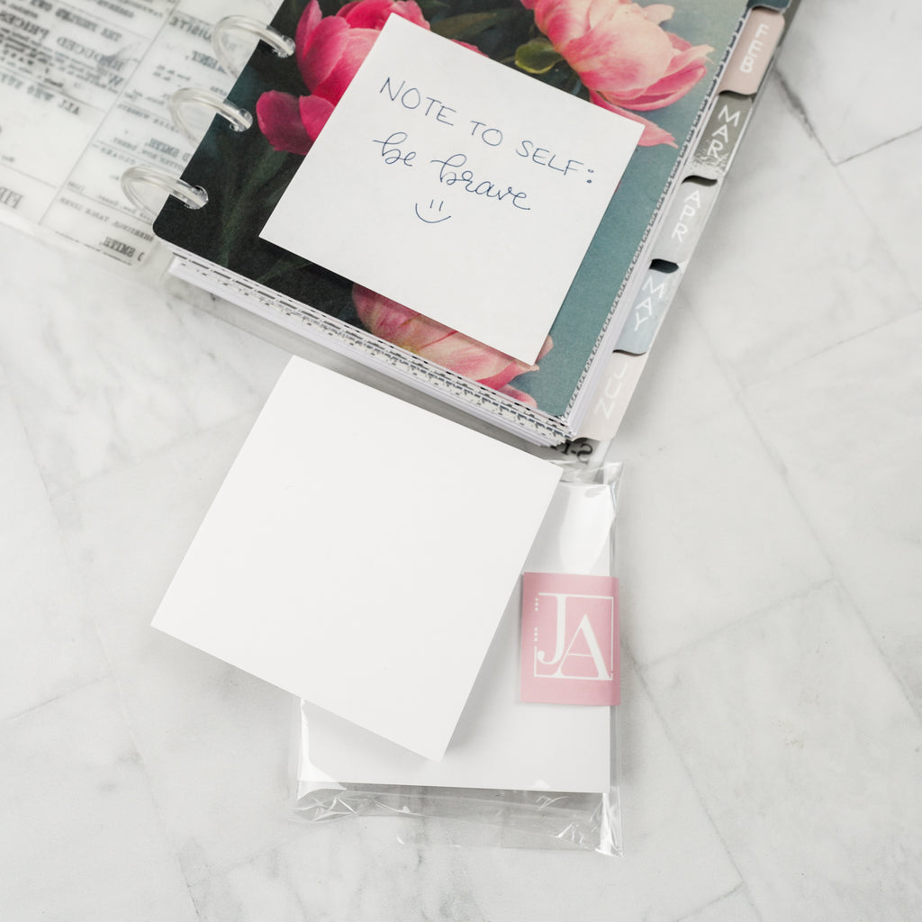 White sticky notes pack in planner accessories by Jane's Agenda.