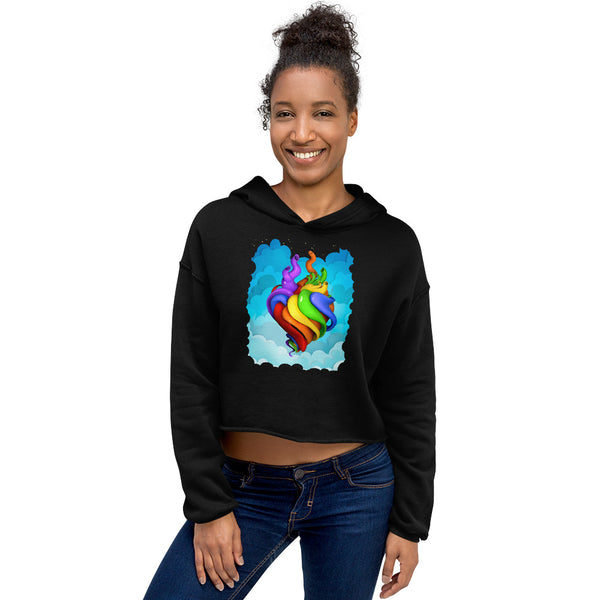Hearts For All Crop Hoodie