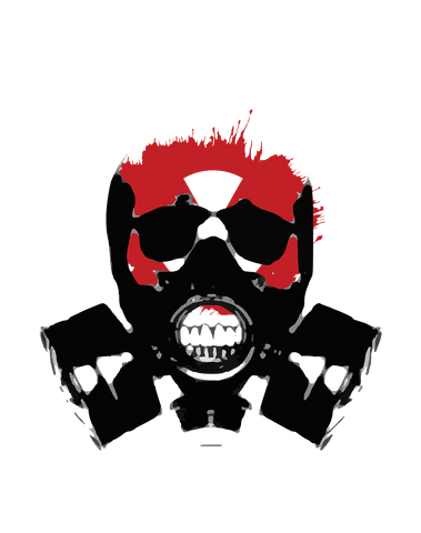 skull gas mask with red warning sign