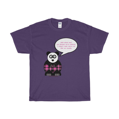 Paranoid Panda on a Heavy Cotton T-Shirt