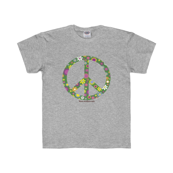 Flowerful Peace Sign on a Youth Regular Fit Tee