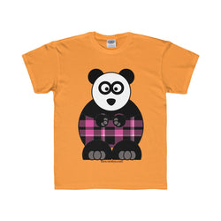 Plaid Panda on a Youth Regular Fit Tee