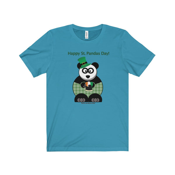 """Happy St Panda's Day"" on a Jersey Short Sleeve Tee"