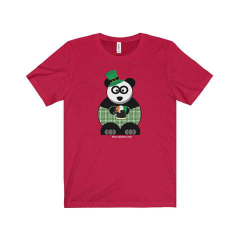 St Patty's Day Panda on a Jersey Short Sleeve Tee