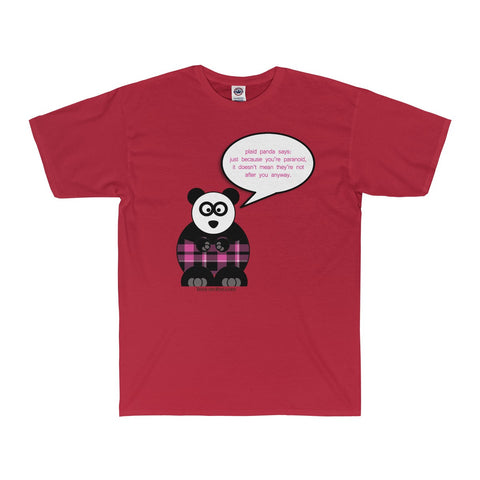 Paranoid Panda on an Adult Surf Tee