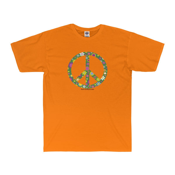 Flowerful Peace Sign on an Adult Surf Tee