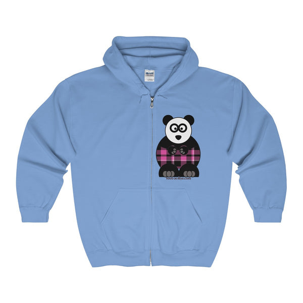 Plaid Panda on a Full Zip Hooded Sweatshirt