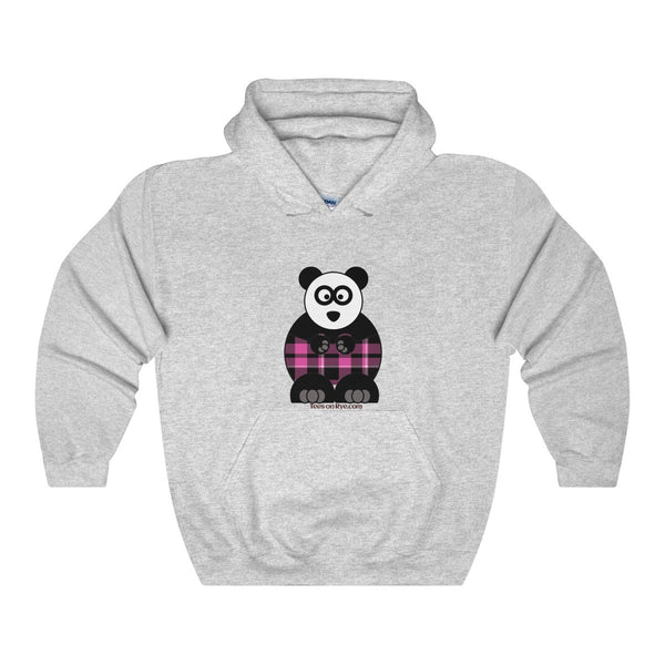 Plaid Panda on a Heavy Blend Hooded Sweatshirt