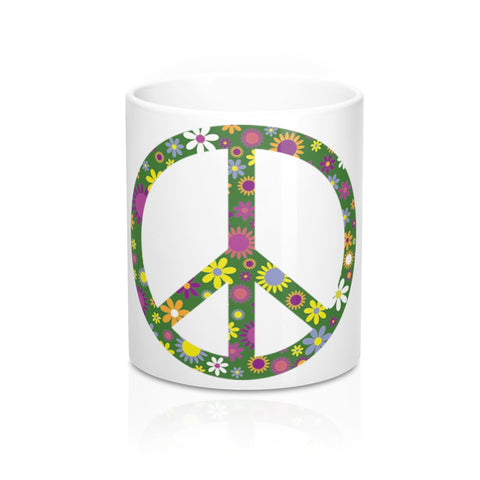 Flowerful Peace Sign on a Coffee Mug 11oz