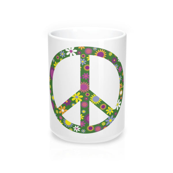 Flowerful Peace Sign on a Coffee Mug 15oz