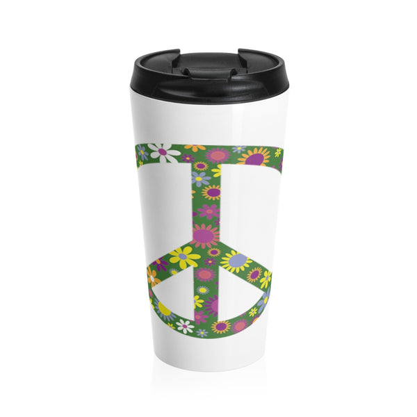 Flowerful Peace Sign on a Stainless Steel Travel Mug